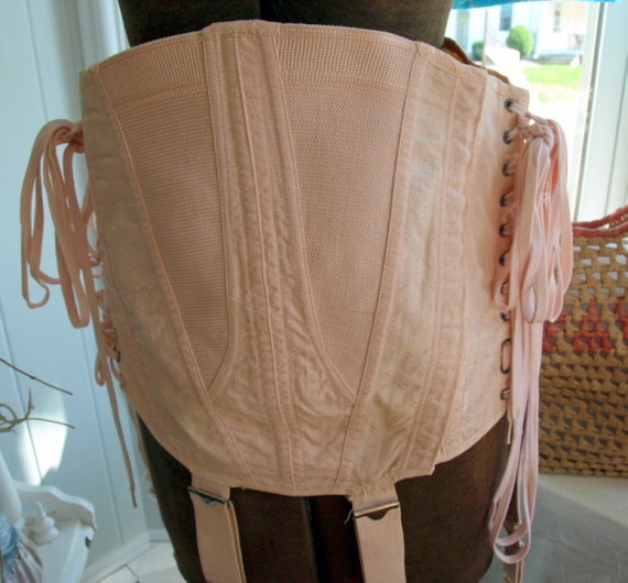Vintage 1930s Peach Lace-Up Corset with Garters