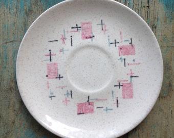 Vintage Saucers, Vernon Ware Tickled Pink Saucers, Set of 6 Retro Saucers, VernonWare California Vintage Plates, Mid Century Saucers