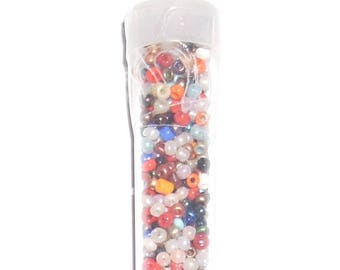 10 grams of seed beads 2mm multicolored tube