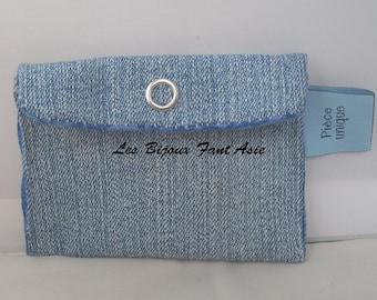 Porte Carte En Jean Et Coton Upcycling Bleu Marine Marbr Bouton Pression 95x75