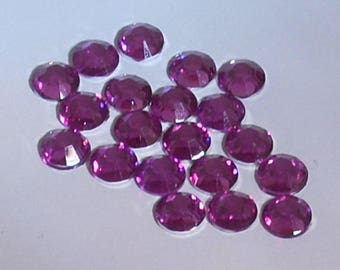 Rhinestone paste round faceted Amethyst 6mm