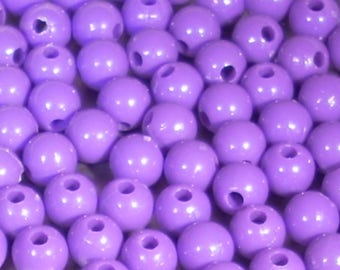 10 purple plastic beads 8mm round