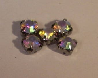 Set of 5 kittens mounted crystal clear 6mm opaque glass