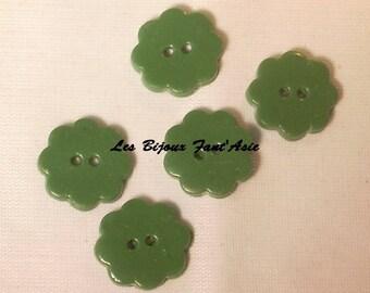 Set of 5 handmade buttons 15mm Green Flower polymer clay