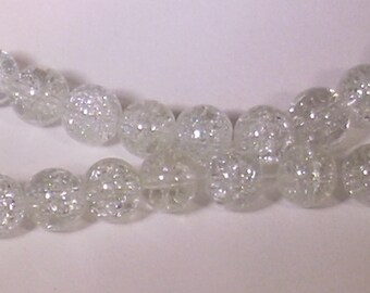 10 pearls 8mm clear Crackle Glass