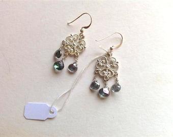 Mystic topaz earrings. Sterling silver fancy chandelier mystic topaz earrings.