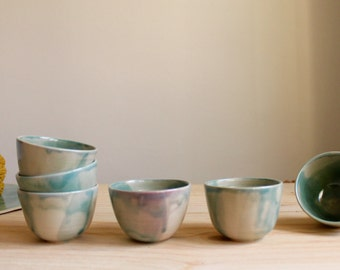 Two cup set Espresso cups Wheel thrown Stoneware Brilliant turquoise glaze - Ready to ship