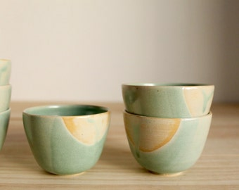 Two cup set Espresso cup Wheel thrown Stoneware Aquamarine matt glaze Turquoise and brown - Ready to ship