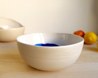 Stoneware bowl White and blue bowl Ceramic bowl Multipurpose wheel thrown bowl Stoneware serving - Ready to ship
