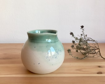 Ceramic creamer Small pottery pitcher Pale turquoise and blue speckles Handmade tableware Coffee jug