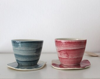 dafec702d5b0 Coffee cup and saucer Set of two Lavender pink and gray Wheel thrown  pottery Ceramic cup and plate - ready to ship