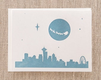 Seattle Skyline Santa Letterpress Holiday Cards - SET OF 10