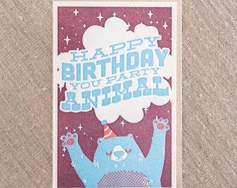 Party Animal Birthday Letterpress Greeting Card