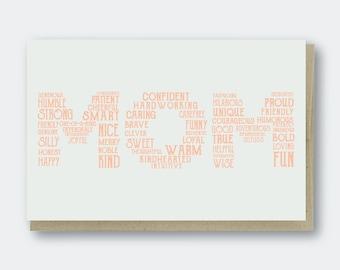 Mom Words Letterpress Greeting Card