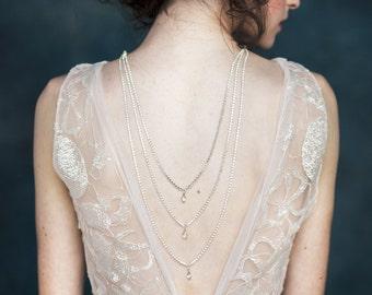 Wedding Sale, Silver Back Necklace, Crystal Necklace, Modern Statement Necklace, Rhinestone Back Jewelry, Tiered Necklace, Layered Necklace