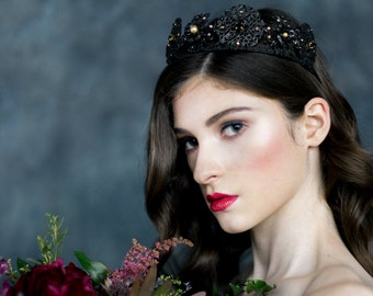 Black Crystal Crown, Queen Crown, Medieval Headpiece, Bridal Headband, Gold Bridal Crown, Flower Crown, Modern Crown, Black Tiara, PRISCILLA