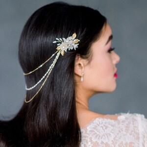 Silver Bridal Hair Chain Gatsby Hair Piece Rose Gold Draped Hair Jewelry ALICIA Bohemian Headpiece Gold Crystal Wedding Head Chain