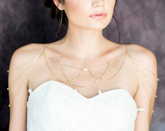 Rose Gold Shoulder Jewelry, Gold Pearl Bridal Necklace, Silver Body Chain, Bridal Body Jewelry, Modern Necklace, Shoulder Chain, GINESSA