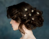 Star Hair Pins, Celestial Hair Piece, Gold Bridal Headpiece, Silver Pearl Hairpin, Crystal Hair Pins, Rose Gold Stars, Set of 3, Gift, LUNA