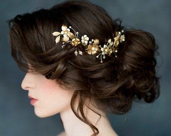 Gold flower Hair Vine, Bridal Hair Comb, Wedding Headpiece, Flower Hairpiece, Gold Ivory Headpiece, Silver Hair Vine, Pearl Comb LARISSA