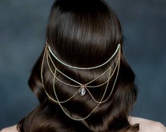 Rose Gold Crystal Hair Chain, Bridal Hair Chain, Crystal Headchain, Gold Headpiece, Silver Hairchain, Bridal Crown, Medieval Headpiece MYRA
