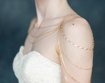 Gold Shoulder Necklace, Rose Gold Crystal Shoulder Chain, Rhinestone Bridal Statement Necklace, Bridal Body Jewelry, Silver bodychain INDIGO