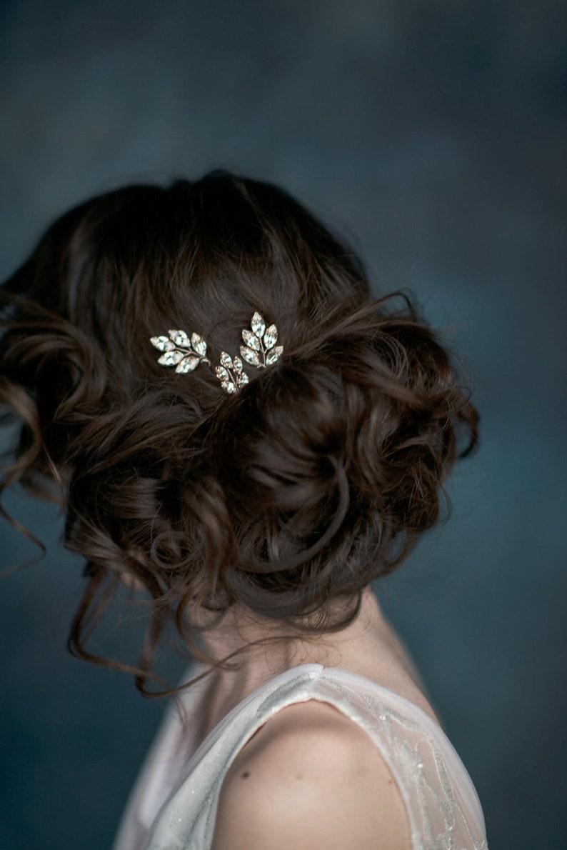 Silver Hair Accessory Rhinestone Hair Pins Crystal Leaf Hair Pins Gold Hair Piece Bridesmaid Gift Rose Gold Headpiece Updo Hair Pins