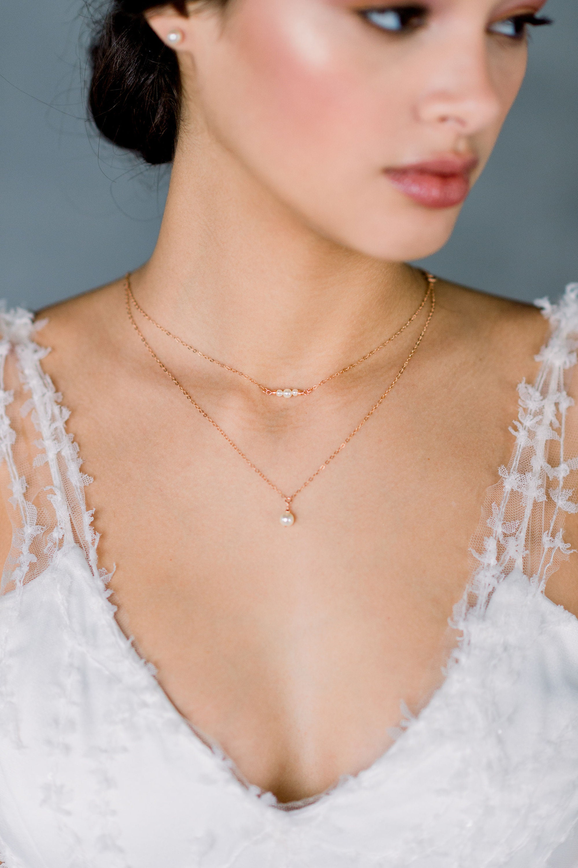 Rose Gold Double Layer Pearl Necklace, Swarovski Pearl Drop Necklace, Gold  Pearl Choker, Silver 18 Strand Necklace, Layering Necklace, EVONNE