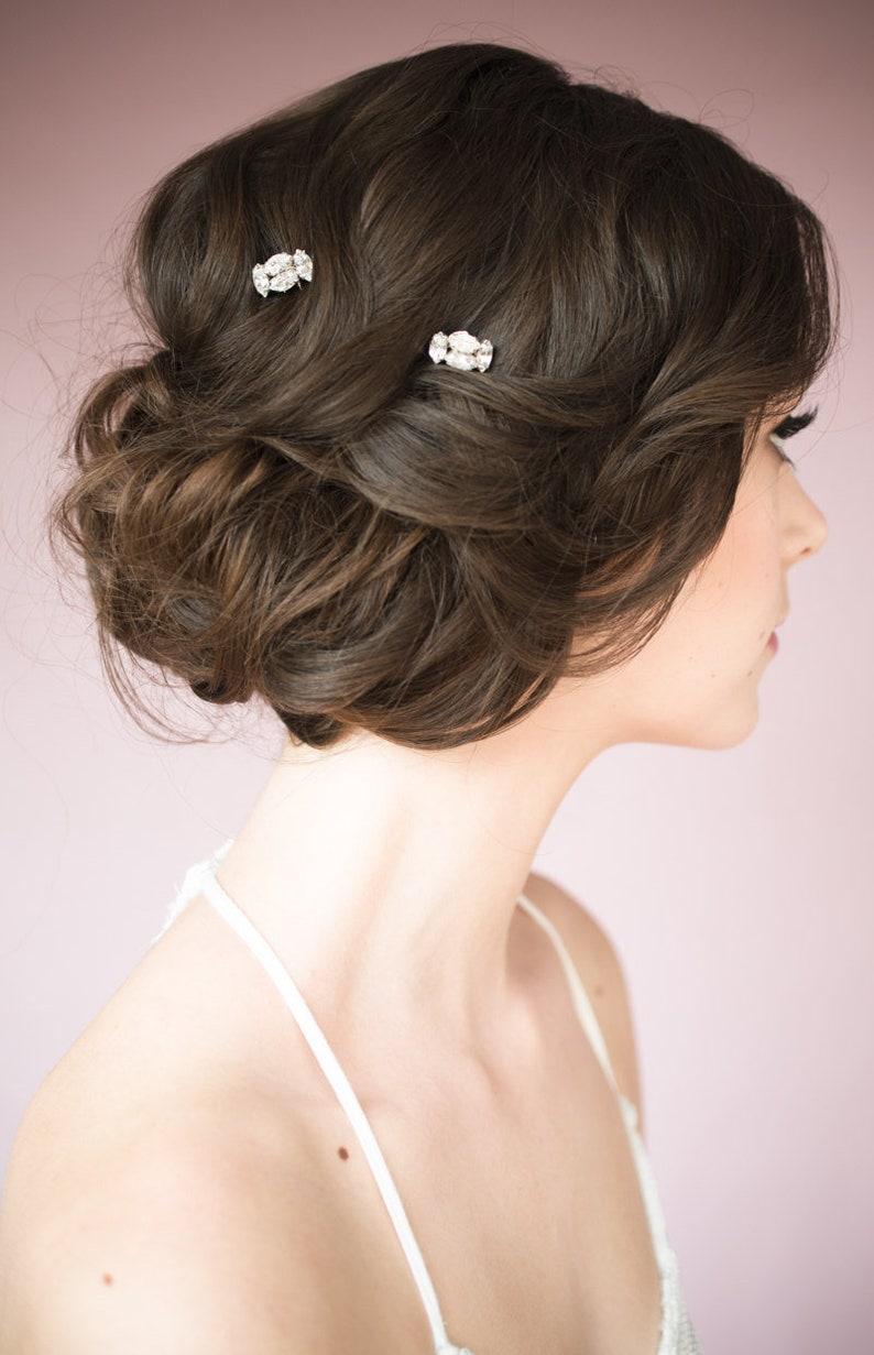 Silver Hair Pin Set Modern Bridal Hair Comb Bridesmaid Hair Pins Gold Rhinestone Hair Pin Rose Gold Crystal Hair Pick Art Deco Hairpin