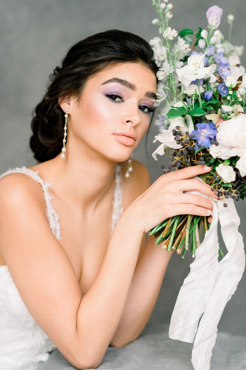 DARCIA Silver Bridal Earrings Gold Dangle Earrings Rose Gold Ivory Pearl Earrings Oval Pearl Earrings Freshwater Pearl Drop Earrings