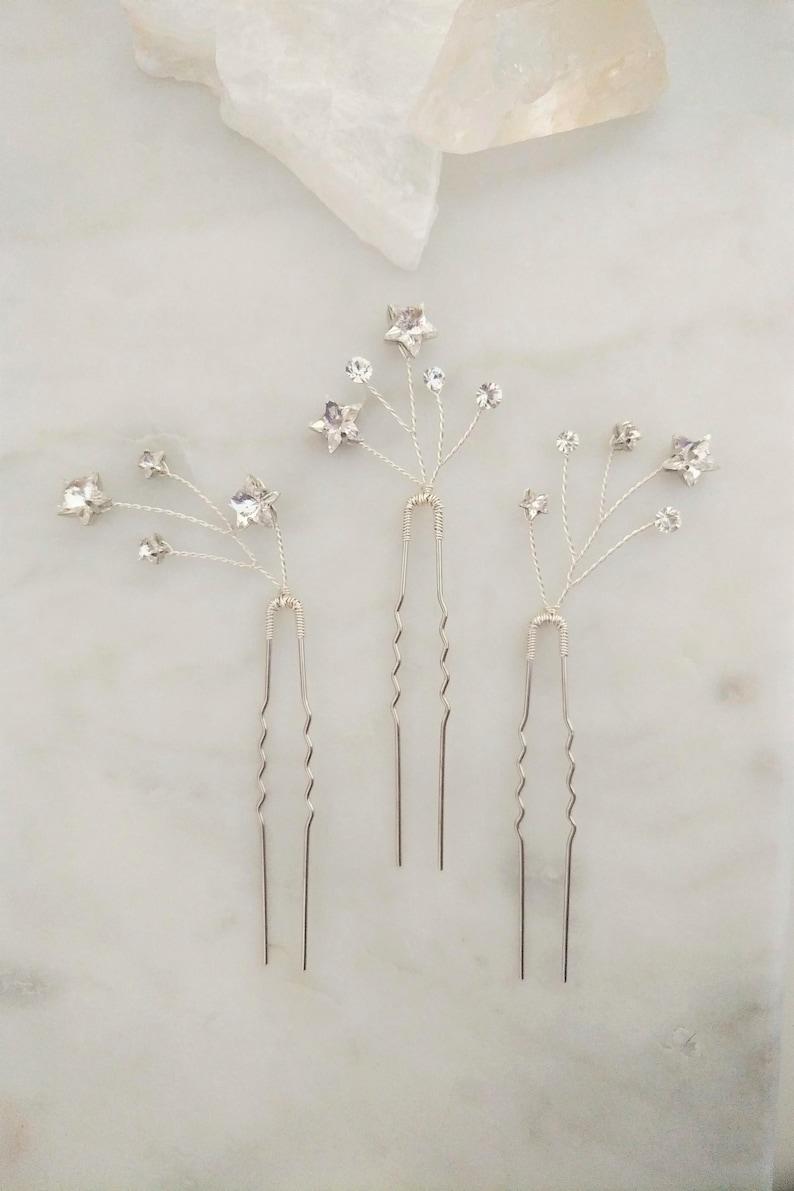 Gold Shooting Star Hair Pins, Silver Celestial Hairpins, Crystal Galaxy  Hair Piece, Modern Bridal Headpiece, Bridesmaids Gift Set, ESTEE