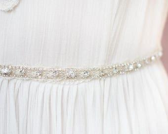 Wedding Sale, Ivory Beaded Wedding Dress Belt, Lace Dress Sash, Silver Crystal Bridal Gown Belt, Rhinestone Wedding Gown Sash, 25 Inch Belt