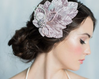 Grey Fascinator, Bridal Headpiece, Crystal Hair Accessory, Wedding Hair Piece, Bridal Hair Clip, Ivory Fascinator, Wedding Accessory, EDITH