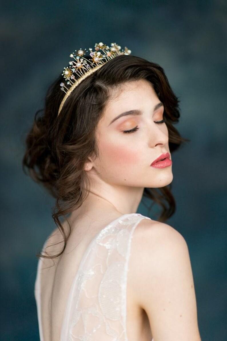 Galaxy Inspired Crown Gold Star Crown Rose Gold Crown Starburst Tiara Silver Cosmic Crown ADELINE Celestial Headpiece Bohemian Bride
