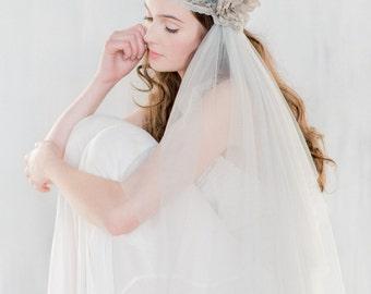 Grey Juliet Veil, Lace Wedding Veil, Embroidered Veil, Gray Veil, Floral Veil, Lace Veil, Lace Juliet Veil, Beaded Wedding Veil, LUCIENNE
