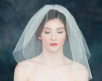 "SALE, Ivory Double Tier Bubble Veil, Blusher Veil, Tulle Wedding Veil, Modern Veil Classic Bridal Veil, Pouf Veil, Ready To Ship 20"" Veil,"