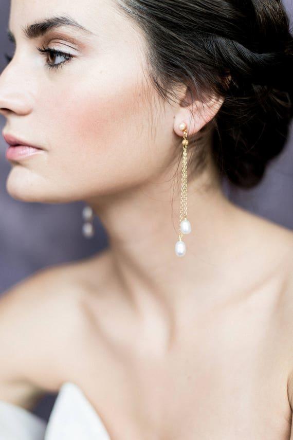 Mini Ivory Grade A Freshwater Button Pearl Drop Earrings