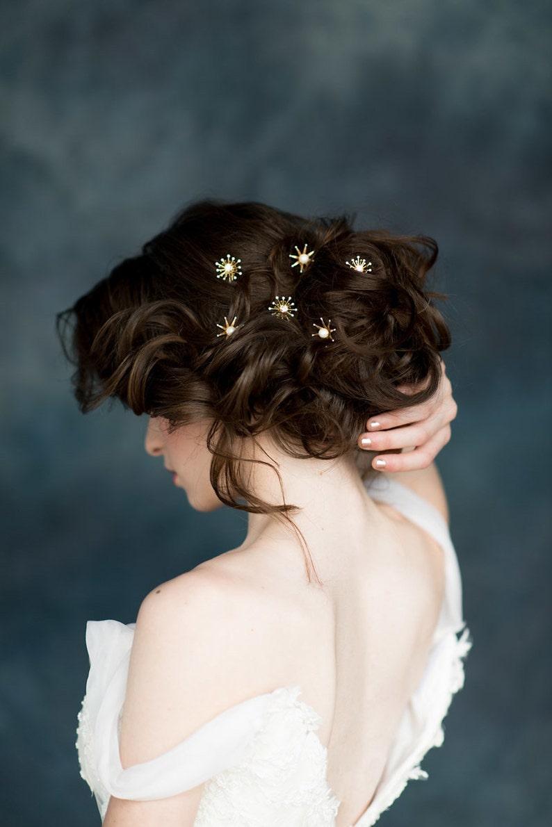 Gold Starburst Bobby Pins Silver Rhinestone Modern Bridal LUNA Galaxy Wedding Hair Piece Celestial Star Hair Pins Pearl Bridal Hairpins
