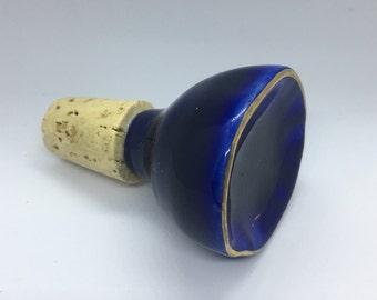 organic circle ceramic wine stopper (blue + gold)