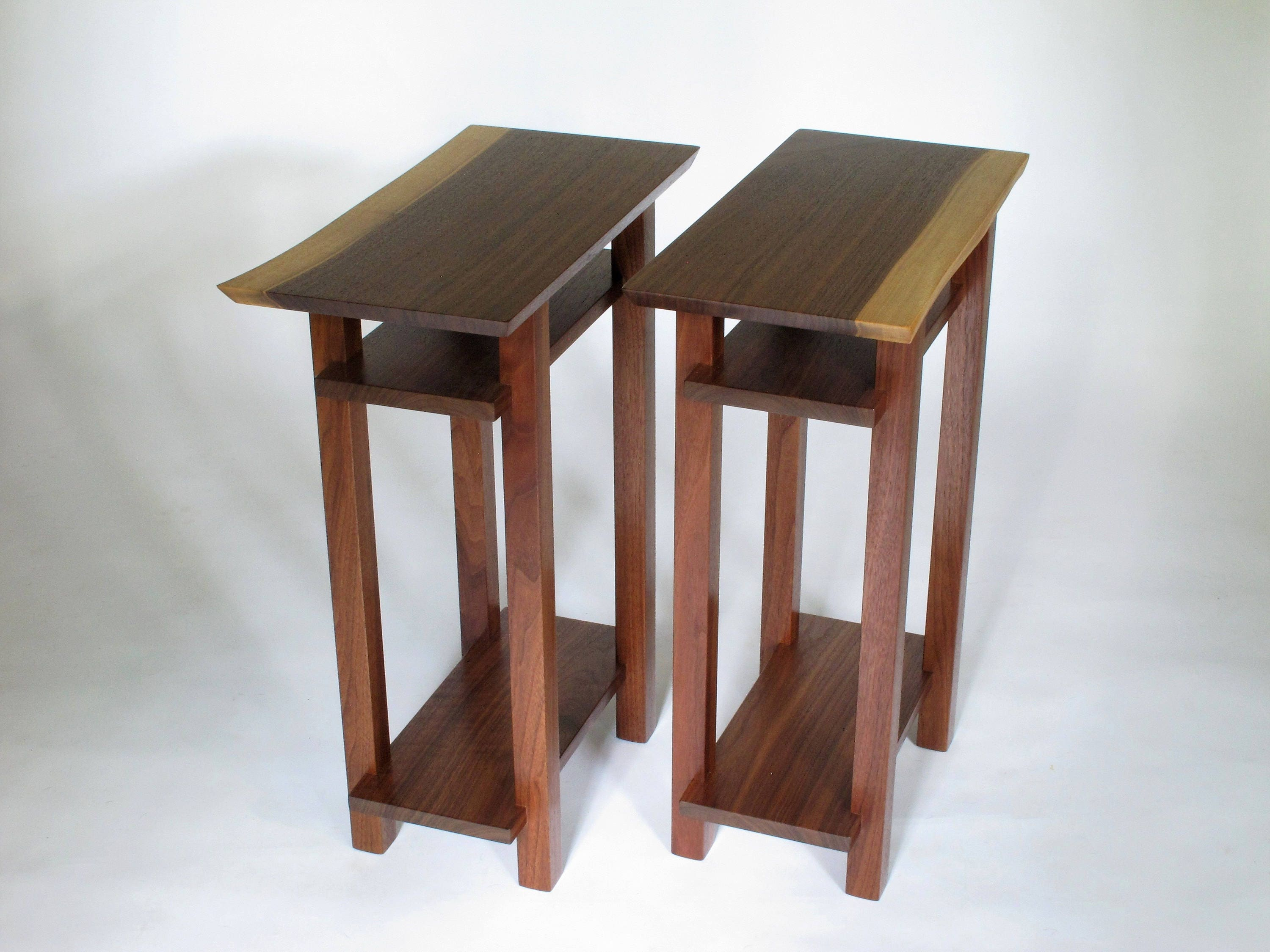Beau Pair Of Live Edge End Tables   Walnut Table Set   Narrow Furniture Design,  Minimalist Modern Home Decor   Solid Wood Tables For Small Spaces