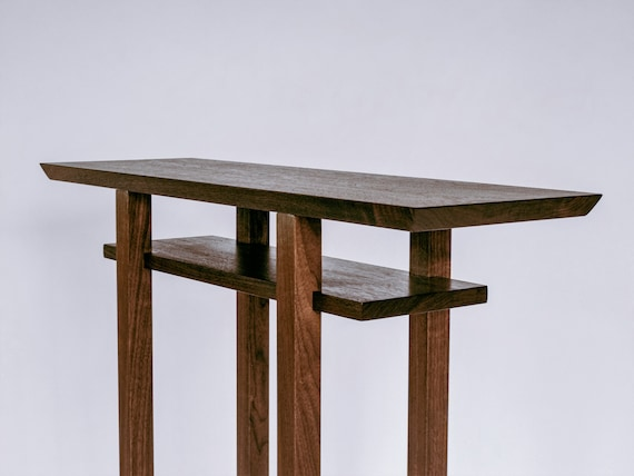 watch 15394 33588 IN STOCK Tall Thin Walnut Side Table- narrow wooden table, for hallways/  entryway furniture