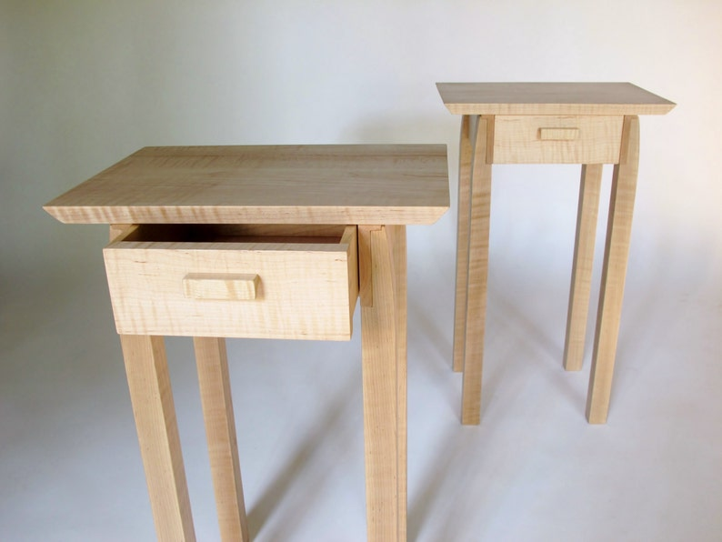 Pair Of Nightstands Small Bed Side Tables Set Of Narrow End Tables With Drawers Modern Wood Furniture Handmade Custom Tables