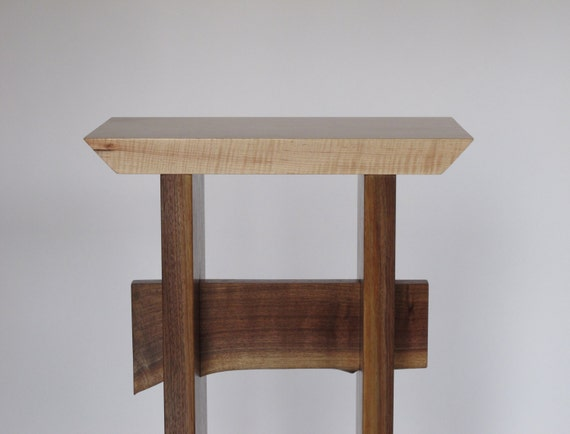 Small Tall Entry Table - Minimalist Wood Furniture for Hall - with Live  Edge Accent