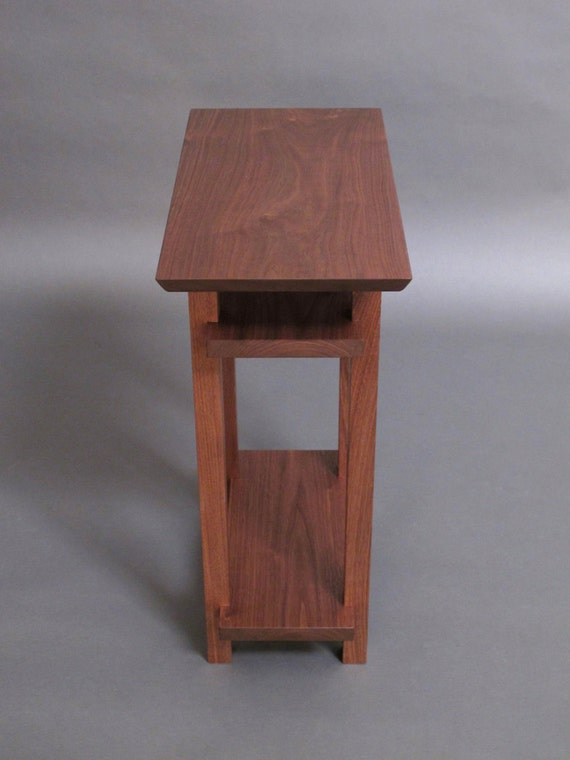 Side Table: Small Narrow Wood Table With Two Shelves: Small Side Table