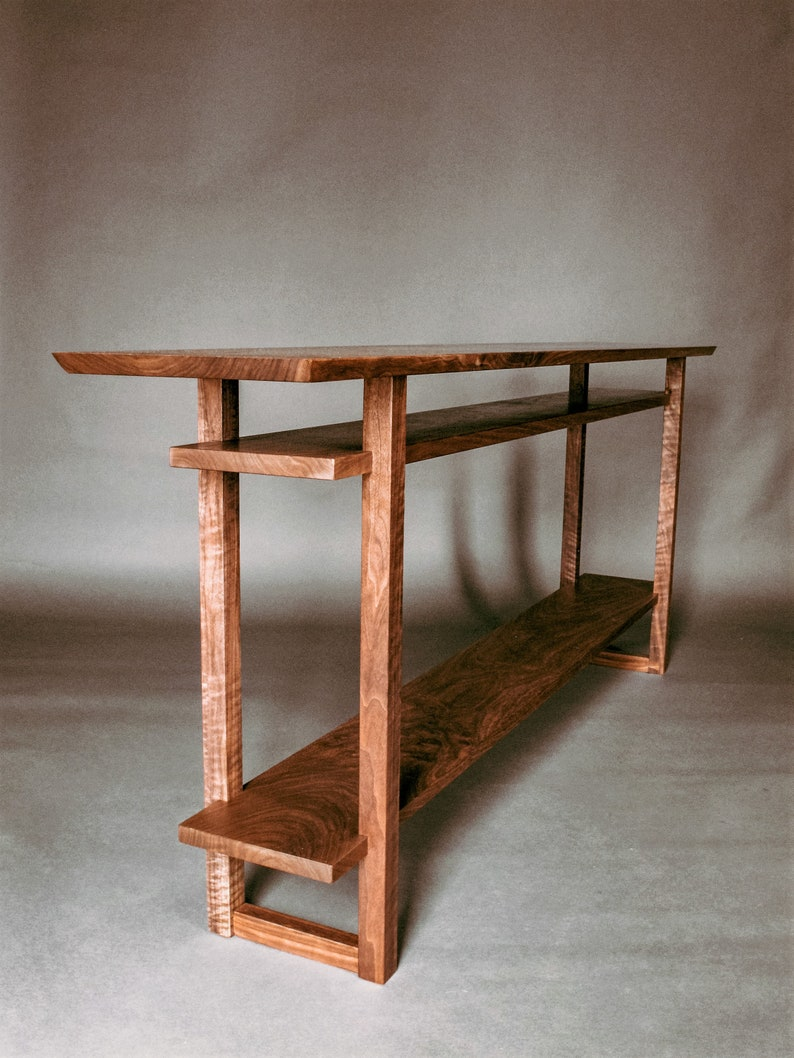 half off 4716e 75198 Long Narrow Wood Table with Two Shelves: Console Table for Hallways,  Entryway Table, Sofa Table