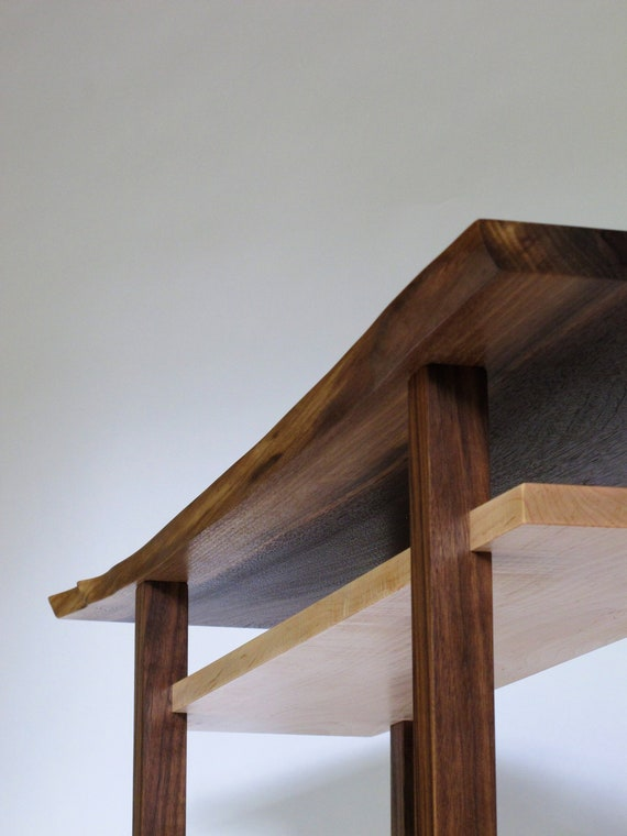 Walnut Console Table With Live Edge Table Top Narrow Table Etsy