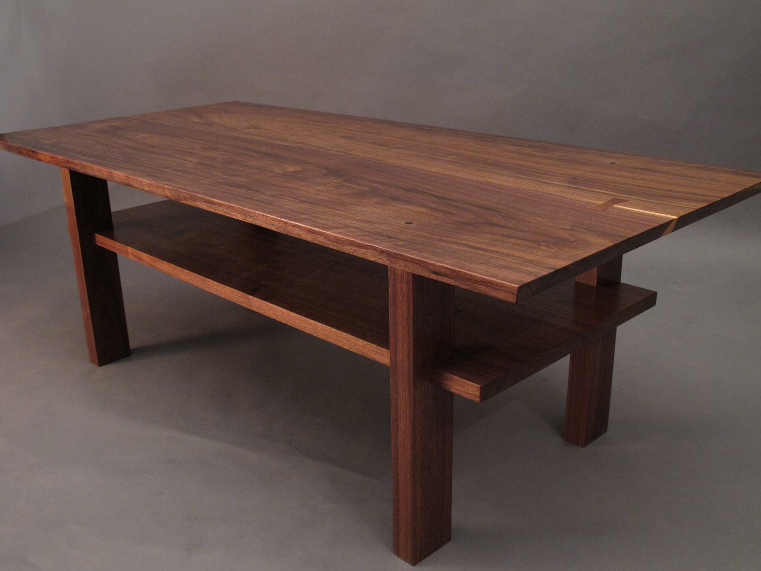 Walnut coffee table small wood tables for living room narrow etsy