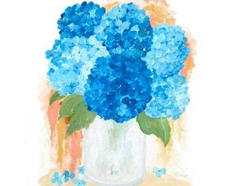 Splash Blue Hydrangea Original Watercolor Print, Limited Edition Archival Print