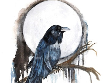 "Raven Watercolor, ""Blue Moon Raven"", Crow Watercolor, Print of Original Watercolor"