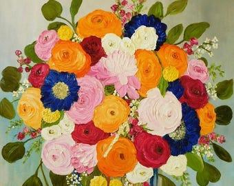 Bridal Bouquet Oil Impasto Painting, Custom Bouquet Painting, Your Favorite Flowers